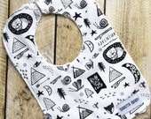 Baby Bib - Adventure Awaits Bib - Baby Gift - Baby Accessory - Bibs & Burping - Black and White - Gender Neutral