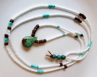 Long Beaded Necklace, Tiny Glass Seed Beads, Linen, Boho Chic, Tribal Jewelry, White Bead Strand, Free Spirit Necklace, Turquoise Stone