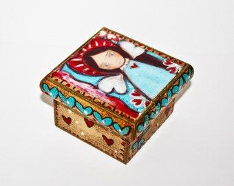 Wings of Love Angel -  Original Mixed Media Handmade Jewelry Box Folk Art by FLOR LARIOS