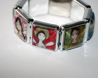 Angels -  Art Stretch Glass Bracelet - by  FLOR LARIOS