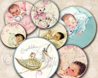 SALE BEBE ROUND Tags Collage Digital Images -printable download file Digital Collage Sheet Vintage Paper Scrapbook
