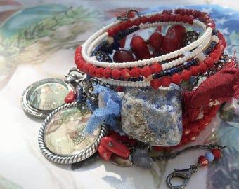 American Woman Red White & Blue Coral Lapis Lazuli BOHO Wrap Rosary bracelet