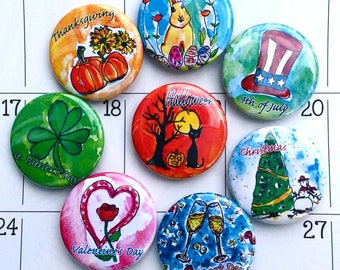 American Holidays Calendar Magnets, Holidays Art, Holiday Gifts, Fridge Magnet Set, Thanksgiving, Halloween, 4th of july, Happy Holidays