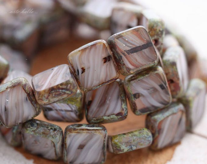 BLIZZARD .. 15 Premium Picasso Czech Glass Square Beads 11mm (B1000-15)
