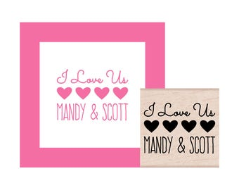 NEW for 2017 I Love Us Personalized Rubber Stamp