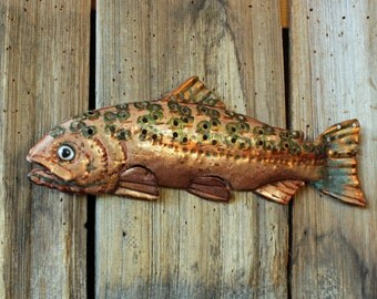 Rainbow Trout - copper metal salmonid freshwater game fish sculpture - wall hanging - turquoise-blue, green, and salmon-pink patinas - OOAK