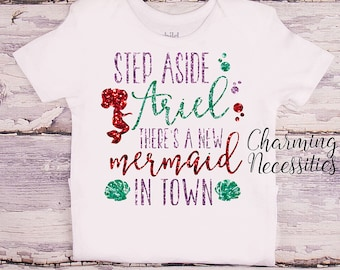 Princess Ariel Glitter Shirt, Baby Toddler Girl  Clothes, Coming Home, Baby Shower Gift, Little Mermaid Inspired, Charming Necessities