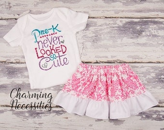 Back To School Outfit, Toddler Girl Clothes, Glitter Top Twirl Skirt, Pre-K Never Looked So Cute Hot Pink Damask Charming Necessities