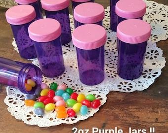 20 Purple JARS Plastic Container Pink Caps Doc McStuffins Party DecoJars #4314