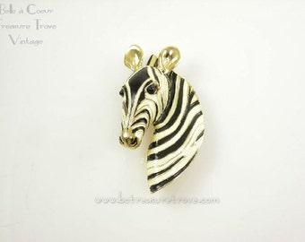 Zebra Brooch Cream Black Stripe Goldtone Metal