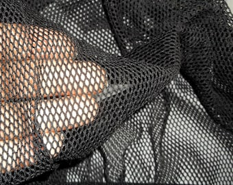 Sexy Black Nylon Lycra 4way Stretch Fishnet Fabric BTY