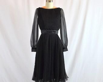"Vintage 1960s Black Chiffon Cocktail Dress | Miss Elliette - Belmar Fashions | 24"" Waist | Size XS - S"