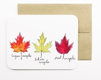 Fall Maple leaves Card with envelope | Autumn | Fall | Maple | Fall leaves | Orange | Yellow | Red | Greeting card | Fall colours