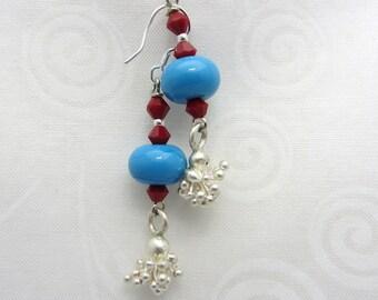 Lampwork Earrings Blue Lampwork Dangle Earrings Glass Bead Earrings Drop Earrings With Swarovski Crystals SRAJD USA Handmade
