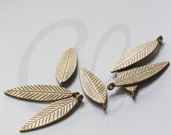 10pcs Antique Brass Tone Base Metal Charms-Leaf 33x10mm (8258Y-D-15B)