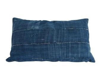 Vintage African Indigo Solid Lumbar Pillow | JERRY 14x24