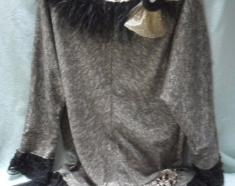 Holiday Sale 30% Off TUNIC Top Holiday Roamtic Whimsical Recycled Boho Ostrich Feathers - Black and Gold