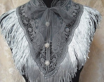 25% OFF Love my customers COLLAR Whimsical  Shawl Cover up Victorian Glam Girl Costume Piece Boho  Roamntic - Grays