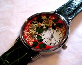 Pressed Flowers Watch, Red Wrist Watch with Queen Anne Lace and Leather Band, Red Watch, Womens Watch,Watch for Women,Women Watches