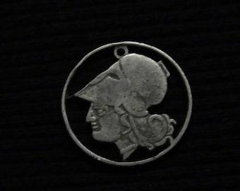 cut coin jewelry - GREECE - 1926- w/ Athena, Greek Goddess of War and Wisdom