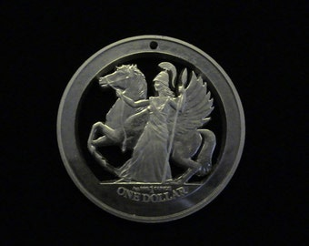 British Virgin Islands - ATHENA and PEGASUS - hand cut medallion - 2017 - .999 Pure Silver - FiRST TiME CuT!!!