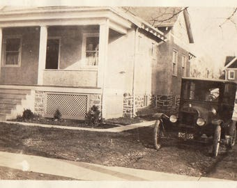 Original Vintage Photograph Snapshot Car Parked By House 1910s-20s