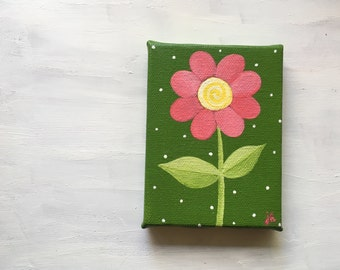 Tiny painting - Flower on 3 x 4 canvas