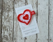 Red and White Hearts Felt Hair Clippie - Heart Felt Hair Bow - Valentine's Day or Everyday Girls Hair Clip - No Slip Grip - Love and Hearts