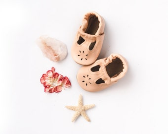 Peach Blush T-STRAPS  Soft Soled Leather Shoes Baby and Toddler Free Shipping in US