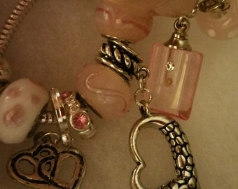 Pink Mustard Seed Charm Bracelet glass with crystal container on silver chain Heart Charms
