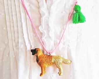 Kids Dog Necklace. Kids Necklace. Girls Dog Necklace. Retriever. Gift for Dog Lover. Pet Necklace. Dog Jewelry. Kids Tassel Necklace.