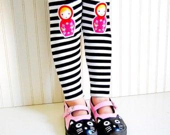 Toddler leggings. Russian Nesting Doll. Girls Leggings. Matryoshka Leggings. Nesting Doll. Babushka. Striped Leggings. Kneepatch Leggings.