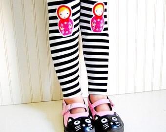 Russian Nesting Doll. Girls Leggings. Matryoshka Leggings. Nesting Doll Tights. Babushka Leggings. Striped Leggings. Kneepatch Leggings.