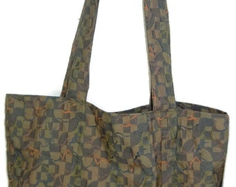 Grocery Bag, Market Tote, Heavy Duty Tote Bag, Upholstery Fabric Bag