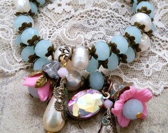 pastel aqua pearl bracelet