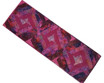 Quilted Table Runner in Pink Crazy Log Cabin
