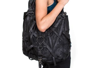 RAGE CAGE Black Leather Hobo Bag - SALE -