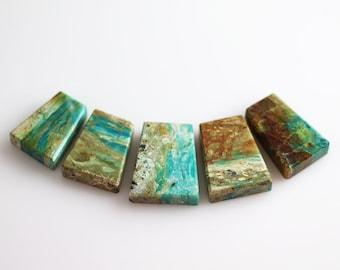 Chrysocolla Stone - Polished Plate Briolettes - Chrysocolla - Set of 5