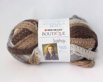 Destash, Red Heart Boutique Sashay Yarn Waltz, Brown Gray Novelty Yarn, 3.5 oz skein, 30 yards, Bulky  Weight Yarn