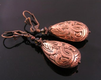 Dramatic Ornate Copper Lucite Earrings, Large Light Weight Lucite Drops, Vintage Style Earrings, Vintage Style Jewelry
