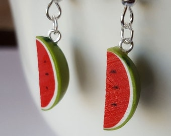 Watermelon Earrings - Food Jewelry - Watermelon Party - Polymer Clay