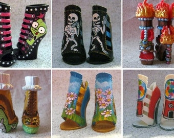 Custom Shoes Painted To Order! Repainted Shoes or Boots for Monster or Ever After Dolls. Custom painted OOAK doll shoes!