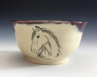 Horse Head Cereal Bowl- Burgundy