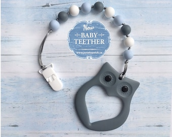 Free Shipping in Canada - Silicone Teething Pacifier Clip with Owl Teether - Soother Clip Baby Toy - Chew Toy - Blue/Grey/White