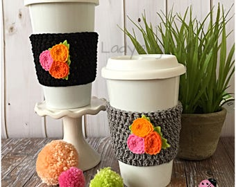 Coffee Cup Cozy. Fun Posie Flower Cozy. Flower Design Travel Mug Cozy. Birthday Party favor. Gift for Her. Gift for Teacher. Gift under 20.