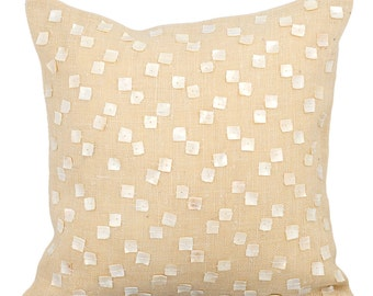 "Decorative Beige Cushion Covers, 16""x16"" Burlap Pillows Cover, Square Mother Of Pearl Embroidered Pillow Cover - Pearl Climb"