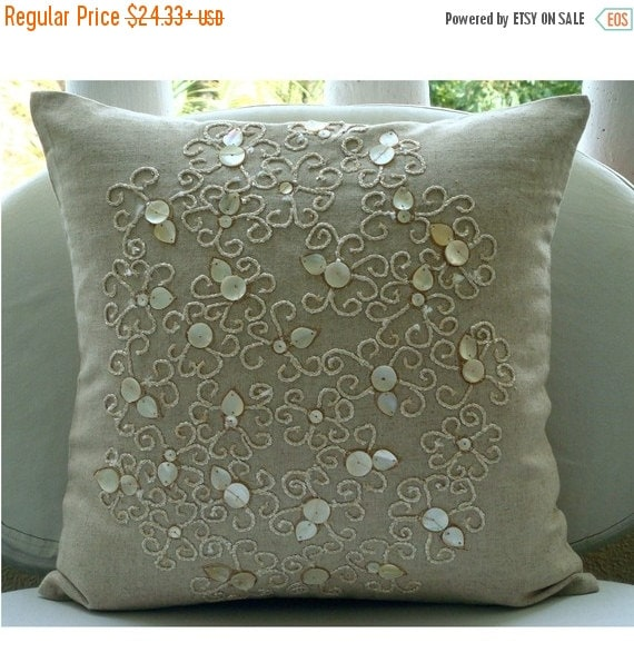 """15% HOLIDAY SALE Designer Ecru Accent Pillows, 16""""x16"""" Cotton Linen Pillows Cover, Square  Mother Of Pearls Decorative Pillows Cover - Pure"""