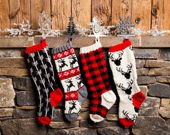 Buffalo Plaid, Christmas Stocking, Christmas Stocking Patterns, Christmas Stocking Design, Family Stockings, Christmas Knitting