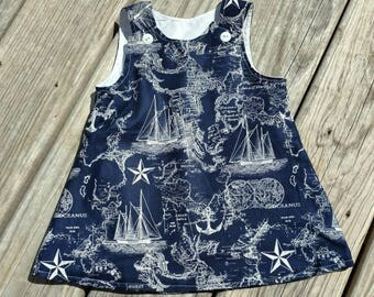 Nautical Dresa - Navy Dress - Sailboat Dress - Girls Beach Dress  - Girls Spring Dress- Birthday Dress - Groovy Gurlz