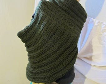 Army Green Cowl Neck Asymmetrical Vest/Katniss Everdeen Style Sweater